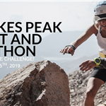 Photo of woman running the Pikes Peak Marathon