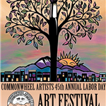 Photo of commonwheel 45th anniversary flyer with a tree and paintbrush
